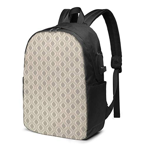 Laptop Backpack with USB Port Ornament Vertical Wavy Line Curvy, Business Travel Bag, College School Computer Rucksack Bag for Men Women 17 Inch Laptop Notebook