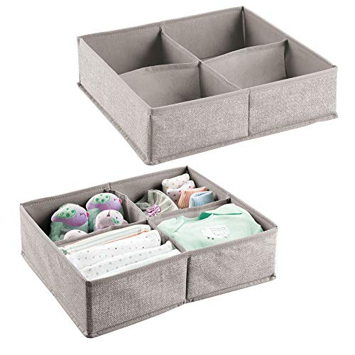 mDesign 2er-Set Baby Organizer – große Aufbewahrungsbox mit 4 Fächern für Windeln, Feuchttücher etc. – ideal zur Spielzeug Aufbewahrung – grau