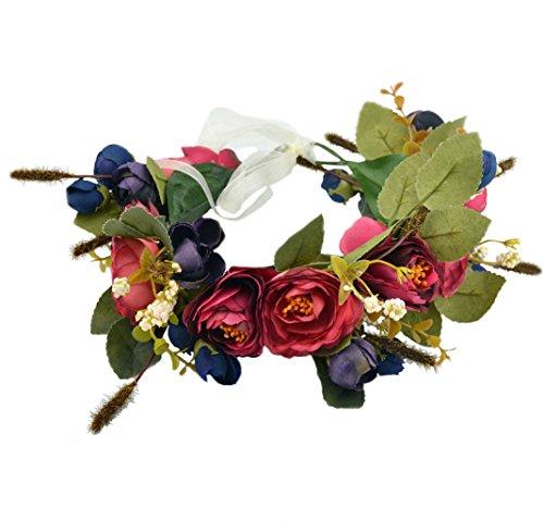 Floral Crown Wreath Flower Garland Headband Hair Wreath Hair Garland Flower Halo Floral Headpiece Boho with Ribbon Party Wedding Festival Blue, One Size
