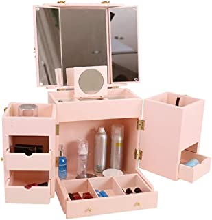 Jewelry Storage Box Cosmetic Storage Box Large-Capacity Rack Mirror with Lid Dressing Table Storage and Storage Box Dustproof Gift (Color : Pink, Size : 28 * 28 * 34cm)