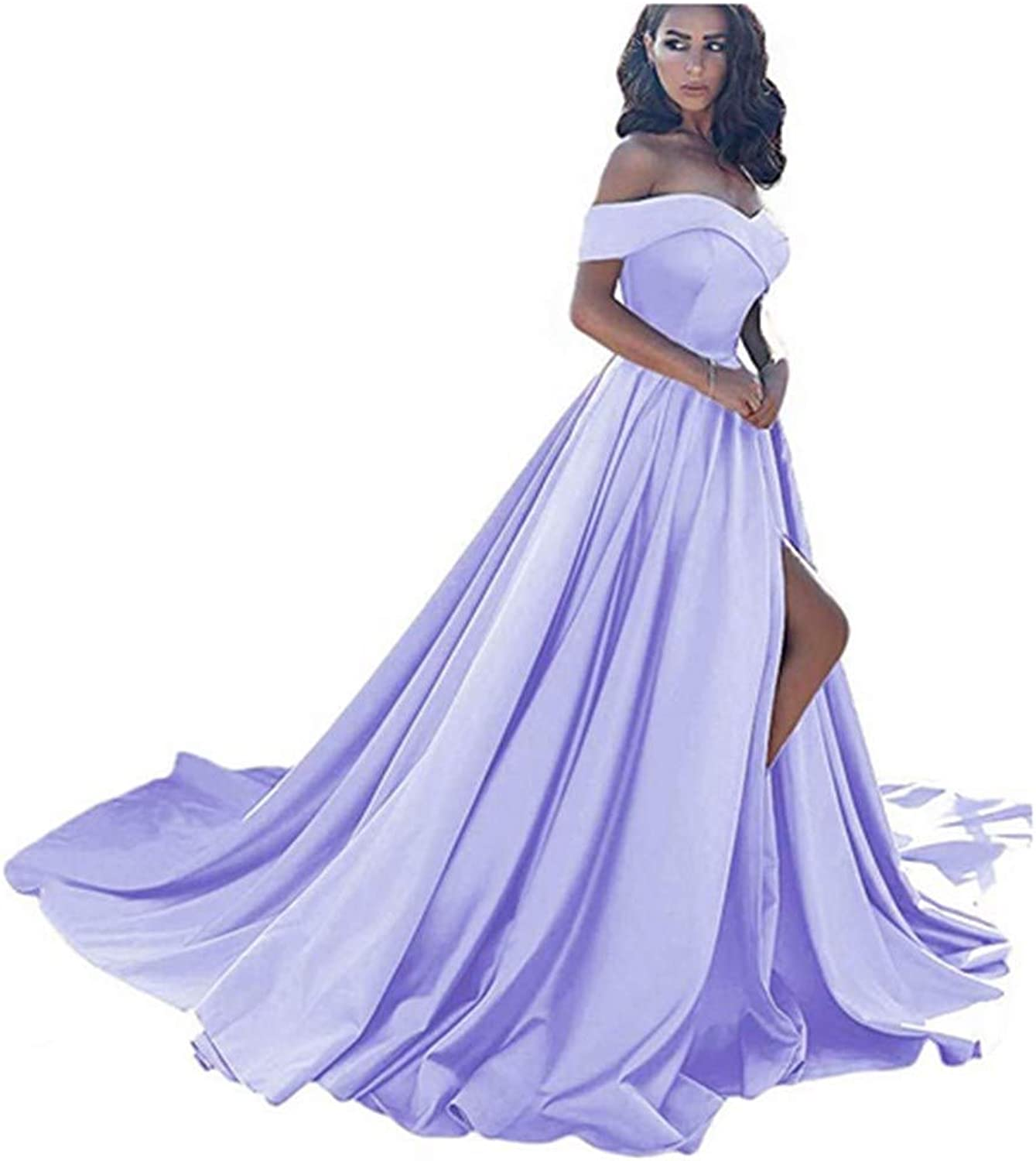 Aiyue Yishen Aline CapSleeve Evening Dress Long Slit Sexy Off The Shoulder Prom Gown