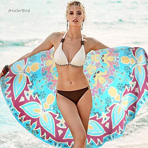 AtailorBird Toalla de Playa de Microfibra, Diámetro 150cm Toalla de Piscina Grande Mandala Esterilla de Yoga, Seque Rápidamente, Absorbente,Prevención de Arena para Viaje, Picnic(Patrón 6)
