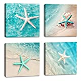 Canvas wall art for bathroom home decorations beach green starfish wall decoration natural beach pictures canvas prints artwork ready to hang Size: 12x12inchx4 panels
