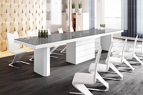 Design Konferenztisch Tisch HE-444 Grau/Weiß Hochglanz XXL ausziehbar 160 bis 412 cm