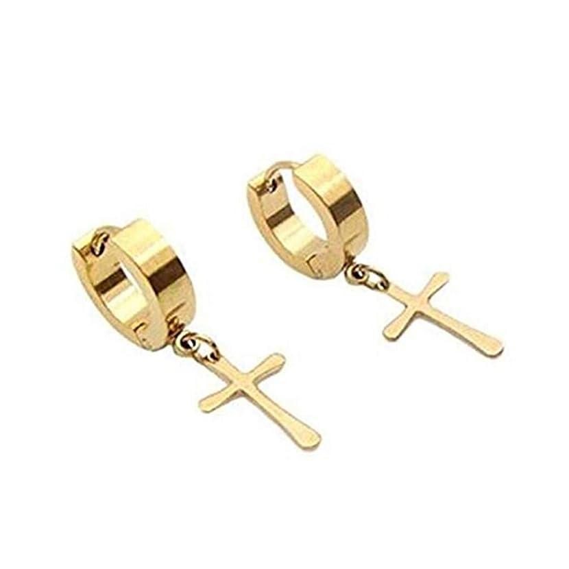 Myhouse Stainless Steel Punk Cross Hoop Earrings Dangle Piercing for Men Women Girls, Gold Color