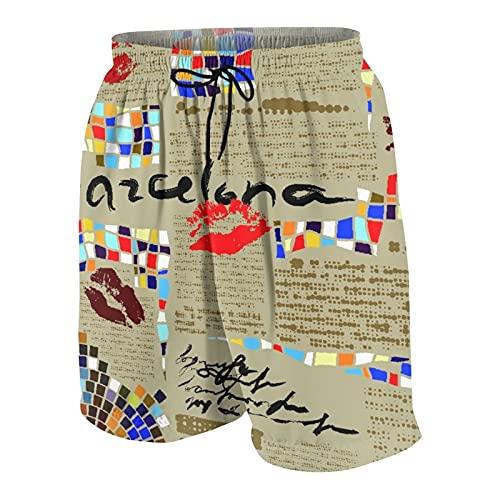 SUHOM De Los Hombres Casual Pantalones Cortos,Imitación De Periódico Barcelona con Mosaicos Y Labios,Secado Rápido Traje de Baño Playa Ropa de Deporte con Forro de Malla