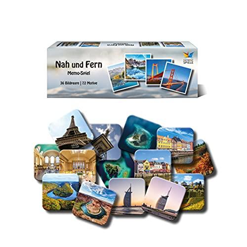 Starnberger Spiele - Nah und Fern Memospiel - 36 beliebte Reiseziele in Deutschland und ihre berühmten Doppelgänger auf der ganzen Welt - Familienspiel, tolles Geschenk für Reiseliebhaber