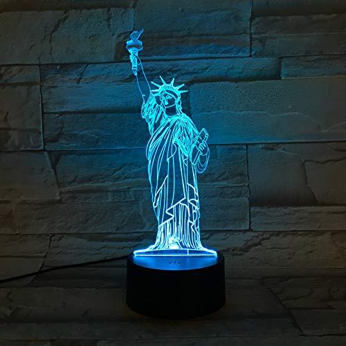 Luz Nocturna Para Niños, Luz Nocturna De Estatua De La Libertad 3D Lámpara Nocturna De Ilusión Regulable De 16 Colores Con Sensor Táctil Y Cable Usb Remoto Lámparas Regalo