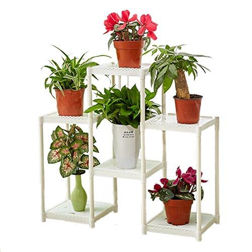 CSQ Stand de fleur blanche, Creative 6 Tables Plant Stand Étagère Salle de séjour Chambre Balcon Fleur Pot Ornements Étagère à fleurs (Couleur : Blanc)