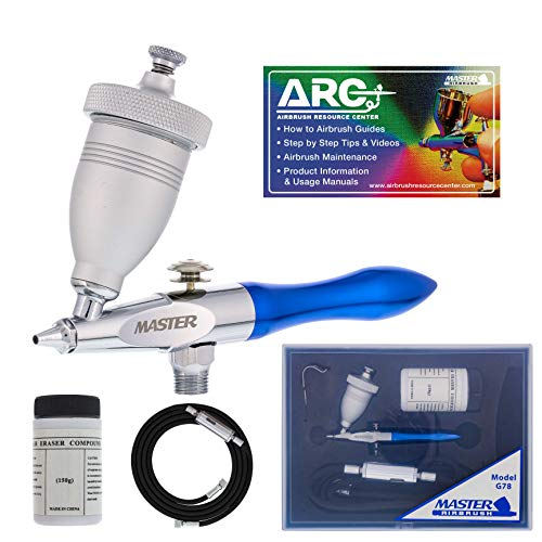 Master Airbrush Gravity Feed Air Abrasive Eraser and Etching Airbrush Kit - Mini Sandblaster Etcher Gun with 1 2 oz. Cup, 0.5 mm Tip, Hose - Etch Glass Designs, Strip Paint, Remove Rust, How-To-Guide