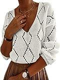 YOINS Suéter de Punto Elegante de Mujer Sudadera con Cuello en V Invierno Jerséis de Gran Tamaño Manga Larga Casual Beige-rombo S