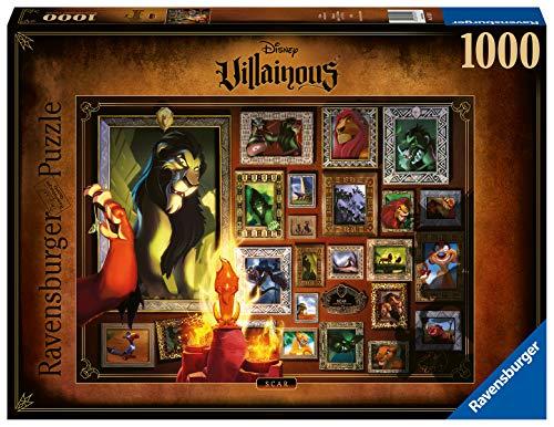 Ravensburger Puzzle 1000 Pezzi, Collezione Villainous, Puzzle per Adulti, Disney, Personaggi Cattivi, Scar, Il Re Leone