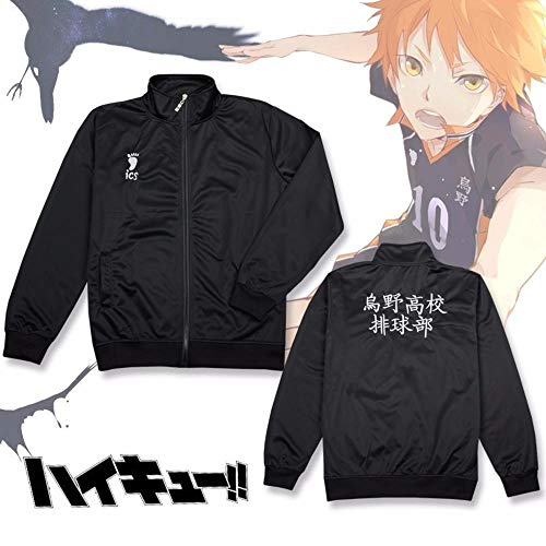 CHANGL Anime Haikyuu Cosplay Jacke Haikyuu Schwarz Sportswear Karasuno High School Volleyball Club Uniform Kostüme Mantel