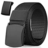 Nylon Belt, 1Pack Men Military Tactical Breathable Belt, fast pass through the airport security. Metal Buckle+Plastic Buckle, Black, 51.18 inch/130cm(not included buckle)