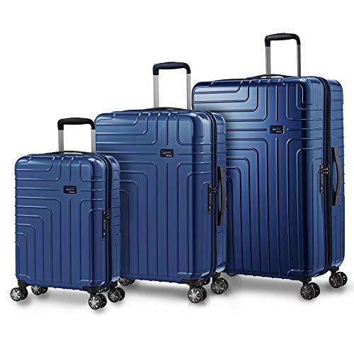 Eminent Set di valigie Helios Set 3 pezzi Rigide Leggere 4 doppie Ruote Lucchetto TSA Blu