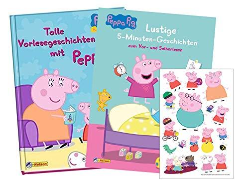 Nelson Velrag Peppa: Lustige 5-Minuten-Geschichten + Tolle Vorlesegeschichten mit Peppa (Hardcover) + 1 Peppa Pig Stickerbogen