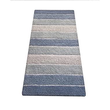 Chardin home Cordural Stripe Bath Runner, Blues with Latex Spray Non-Skid Backing, 24  W x 60'' L