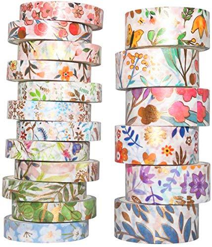 YUBX Or Washi Tape Ruban Adhésif Papier Décoratif Feuille VSCO Masking Tape pour Scrapbooking Artisanat de Bricolage 8/15mm de large (Blooming 18 Rouleaux)