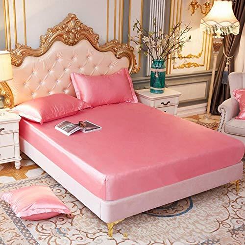 Chytaii Sábana bajera de satén de seda, sábana bajera de 150 x 200 cm, hasta 25 cm de altura, ropa de cama muy suave, para dormitorio – Rosa B