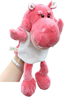 KOSSJAA Hand Puppets for Kids Animal Puppets Girls Plush Toys Glove Puppets Storytelling Toy Game Ro (F Pink Hippo)