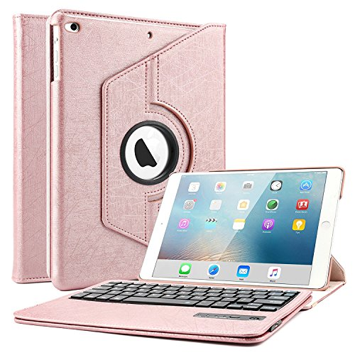iPad Keyboard Case for 9.7 2018 2017, Boriyuan 360 Degree Rotating Stand PU Leather Smart Cover with Wireless Keyboard for Apple New iPad 2018 2017 iPad 9 7 inch - Rose Gold