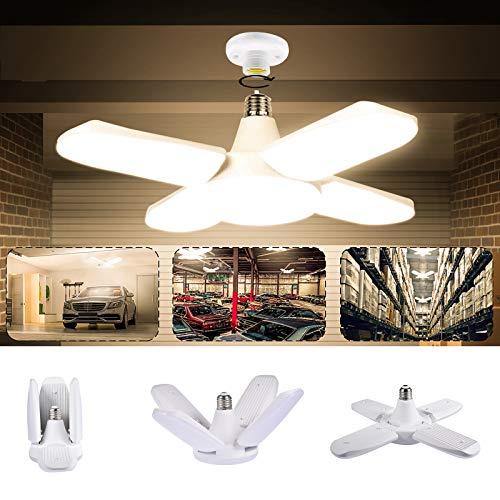 Luz de Techo LED para Garaje, LACYIE Lámpara Deformable Para Taller 80W 8000LM E27 con 4 Paneles Ajustables,LED Lámpara de Garaje para Garaje, Almacén, Taller, Sótano, Gimnasio (80W Blanco cálido)
