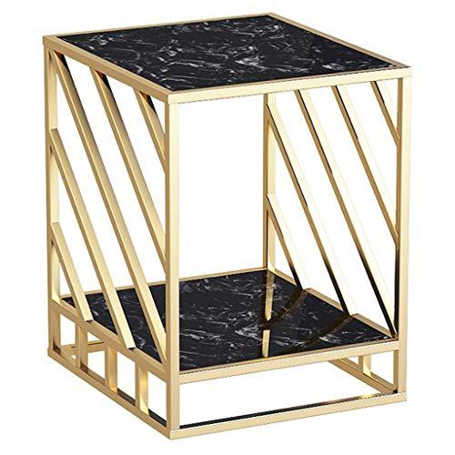 Europese bijzettafel, kleine marmeren tafel, vierkant, kan als hoektafel zitten, nachtkastje voor slaapkamer, kleine plank, balkon, tafel P