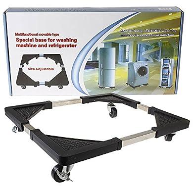MALAYAS, carrello regolabile quadrato con rotelle per lavatrici, congelatori, surgelatori, asciugatrici