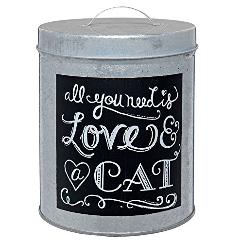 Homes on Trend Zinc Metal Storage Tin 'All You Need is A Cat' Kitchen Food Vintage Style Pot-Zinc