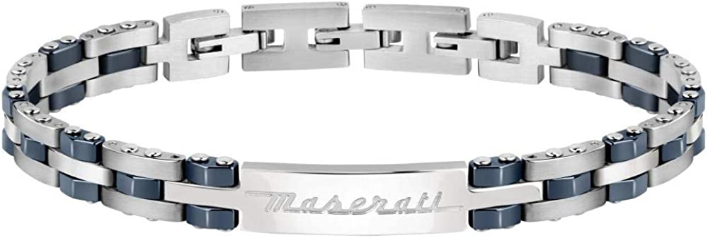 Maserati collezione jewels bracciale da uomo in acciaio, ceramica AC6057