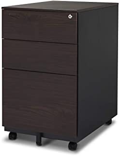Aurora FC-103WA Modern Soho Design 3-Drawer Metal Mobile File Cabinet with Lock Key/Fully Assembled, Walnut/Black