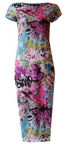 Vestido midi para mujer y señora. Comic Graffiti - Vestido de manga corta con dibujos animados 2 hermosos colores – Mulit-Pastels & Multi Neon Longitud aproximada: 102 cm. Talla del Reino Unido: S/M (8 – 10), M/L (12 – 14).