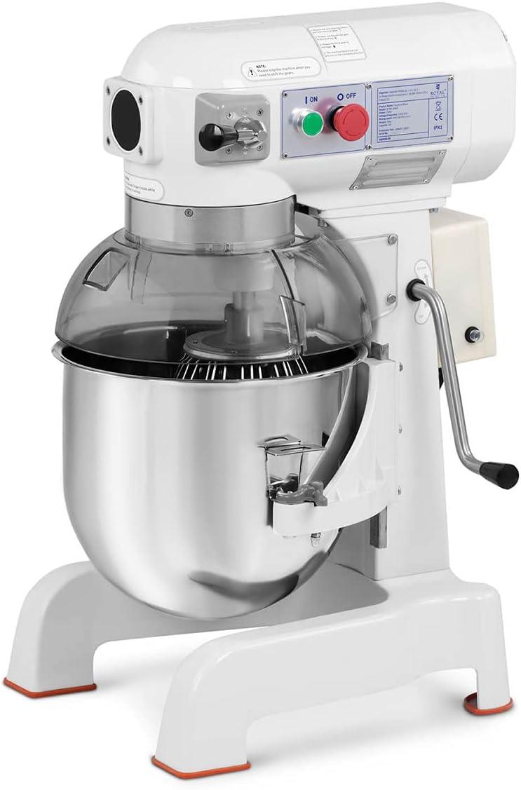 Royal Catering Amasadora Batidora De Cocina RCPM-20WP (Recipiente descendente, Motor: 700 W, Volumen: 20 L, Velocidad: 140 / 230 / 543 rpm)