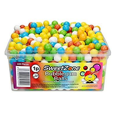 sweetzone 100% halal sweets - mini bubblegum balls tub of 600pcs SweetZone 100% Halal Sweets – Mini Bubblegum Balls Tub of 600pcs 51OhOBE0s9L
