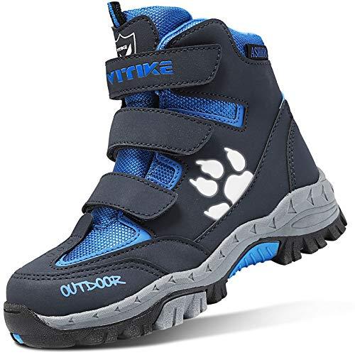 ASHION Kinder Winterschuhe Wanderschuhe Mid Schneestiefel Mädchen Trekkingl Stiefel Jungen Baumwollschuhe Warm Wanderstiefel (A Blau,27 EU)