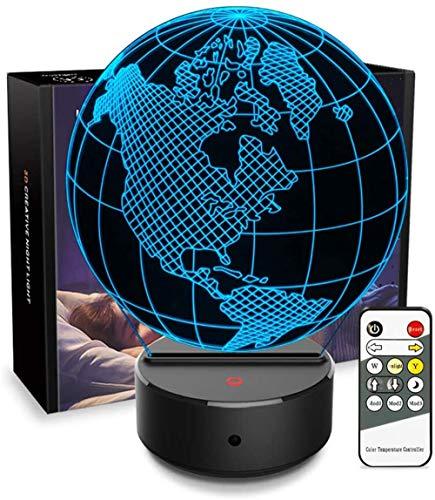 Lámpara 3D de ilusión óptica 3D, luz nocturna 3D, lámpara de escritorio para dormitorio de niños, cargador USB, ideal como regalo para cumpleaños, Navidad, día de San Valentín