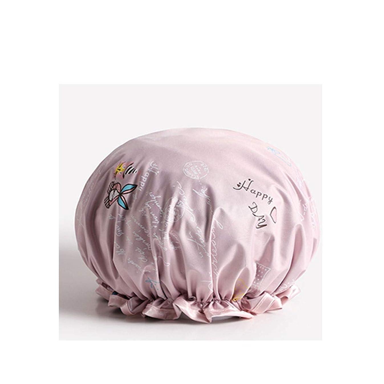 不当失敗シャックルHUIJUNWENTI シャワーキャップ、防水成人女性用シャワーキャップ、シャワー用シャワーキャップ、シャンプーキャップ、かわいいスカーフ、キッチンレディースフードキャップ (Color : Pink)