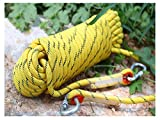 QHY 8mm Climbing Rope Outdoor High Strength Safety Static Rock Climbing Rope for Escape Ice Climbing Equipment Fire Rescue Parachute Rope (Color : Yellow, Size : 20m8mm)