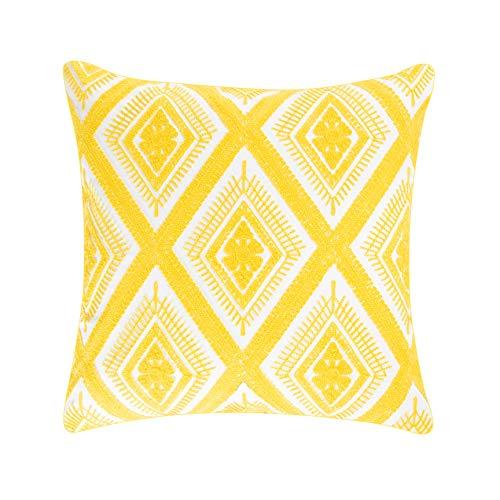 Bene Boutique – Dekorativer Kissenbezug, bestickt, Baumwolle, 45,7 x 45,7 cm, Gelb