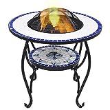 vidaXL Tavolo con Braciere a Mosaico Robusto a 4 Gambe con Griglia Stufa per Esterni Barbecue Blu e Bianco 68 cm in Ceramica Telaio in Acciaio