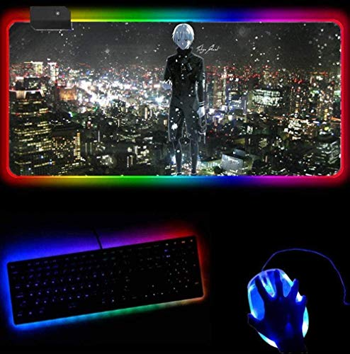 YYTTLL RGB Gaming Mouse Pad Mouse Pad Gaming Anime Gadget Office Padmouse Juegos Pc Gamer Mats (30X80Cm)
