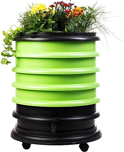 WormBox : Wurmkomposter Wurmfarm mit 4 Schalen Grün + Pflanzgefäß - 72 Liter