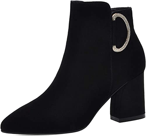 Bloque De Gamuza Tacón Tobillo Stiefel para damen De Invierno Comfy Vestido De Fiesta De Boda schuhe De Cremallera Botines schwarz braun,schwarz-EU 40 UK 7