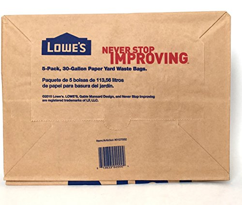 Lowes 30 Gallon Paper Lawn and Leaf Trash Bags, 5 Count (Pack Of 3) 15 Total