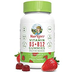 VEGAN Vitamin D3 + B12 (Methylcobalamin) Gummies with DELICIOUS flavor: Strawberry! Non-GMO, Vegan, PALEO Friendly, and from Non-GMO Vegan Lichen! ENERGY BOOST- Organic Ingredients, Non-GMO, Vegan, Gluten Free, Wheat Free, Yeast Free, Soy Free, Paleo...