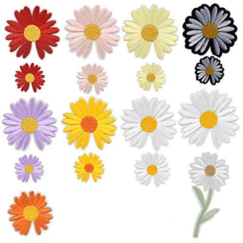 19 Pcs Patch Sticker, Ropa Parches Termoadhesivo, Parches Bordados de Flores de Girasol Margarita, Parches...