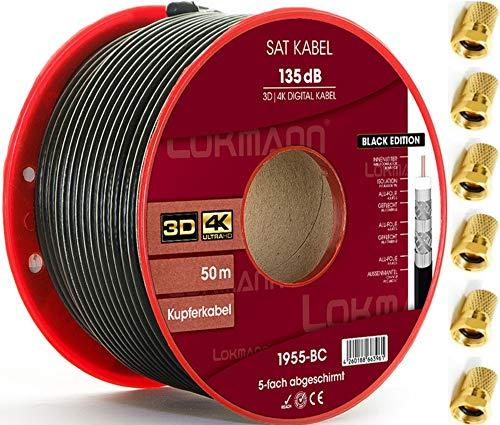 LOKMANN Schwarz 50m Reines-Kupfer 135dB 5-Fach geschirmt Koaxialkabel Koax Sat Kabel Antennenkabel TV Cable Satellitenkabel Full HD, UHD, 4K, 8K + 10 F-Stecker