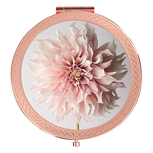 Folding Pocket Mirror Pink Flower, Fashion Outer Edge Flower Compact Mirror 2X &1x Magnification Double Sides, Beauty Makeup Mirror for Purse and Handbag