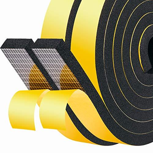 Selbstklebend Schaumstoff 25mm(B) x10mm(D) Fenster-Türdichtung Dichtungsband kochheld, Moosgummi selbstklebend für Kollision Siegel Schalldämmung Gesamtlänge 4m (2 Rollen je 2m lang) Schwarz