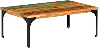 Fully Handmade Rustic Coffee Table Reclaimed Wood Sofa and Couch End Side Table Steel Frame 39.4